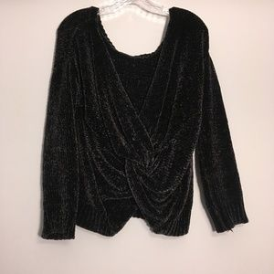 Design Lab Lord & Taylor Black Chenile Sweater